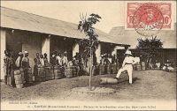 Kankan, porteurs de marchandises avant leur départ pour le Sud. - L'explosion de la demande industrielle en caoutchouc à partir de la fin du XIX ème siècle, liée au développement de la bicyclette puis de l'automobile, a entraîné une véritable fièvre du latex en Guinée. Le produit était ici tiré de lianes sauvages et non de l'hévéa comme en Amazonie. Mais rapidement, les ressources les plus accessibles, proches du littoral où est embarqué le latex, sont épuisées et il faut mobiliser pour aller en chercher plus loin, au Fouta-Djallon d'abord, en Haute-Guinée ensuite –dont Kankan est la principale ville-, puis jusqu'en Guinée Forestière. Une partie importante de la population guinéenne se trouve alors enrôlée pour la récolte et le transport, sur des distances toujours plus grandes, du précieux produit. Alfred Guignard, un fonctionnaire proche du général Mangin, évoque le phénomène à l'occasion d'une mission dans la région en 1911 : « La ruée européenne sur ce produit a introduit dans les mœurs rurales des pays dotés de cette richesse néfaste deux causes de perturbations profondes : l'abandon des champs moins rémunérateurs, la multiplication du portage, corvée abrutissante, qui n'a souvent de volontaire, on le sait, que le nom » (1). Le chemin de fer, qui relie le port de Conakry à Kankan avant la première guerre mondiale, arrive un peu tard pour cette ressource devenue rare et trop chère pour concurrencer celles issues des récentes plantations asiatiques d'hévéa. Source (1) : Guignard, A., « Zig-zags en AOF » dans L'Afrique Française, n°10, oct. 1912.