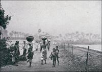 Conakry, pont de Tumbo. Vue prise de la grande terre. – Il s'agit ici du gué, apparemment déjà aménagé, qui relie Conakry au continent. La circulation sera pérennisée dès la fin du XIXème siècle par la construction d'un pont métallique – parfois appelé pont du Saloum -, renforcé ensuite pour accueillir la voie ferrée qui relie le port au fleuve Niger en Haute-Guinée. Plus tard encore, dans les années 1950, le mince cordon sera durablement remblayé. Le site choisi en 1885 pour implanter le siège de l'autorité française dans la région, le modeste village de Conakry, est en effet situé sur une presqu'île séparée de la terre ferme par un passage submersible. La presqu'île de Tumbo, longue de 3,5 km et large de 1 km, sera ainsi successivement le lieu de résidence du commandant du cercle de Dubréka à partir de 1885, le chef-lieu des Rivières du Sud en 1890, puis la capitale de la colonie de Guinée à compter de 1903. La ville ne s'étendra réellement sur le continent qu'après la Seconde Guerre mondiale, à la faveur des fonds FIDES – Fond d'investissement pour le développement économique et social - et de la prospérité bananière. Henry Bordeaux, un écrivain membre de l'Académie française un peu oublié aujourd'hui, fit un voyage en AOF en 1936. Il voit une portée géopolitique  à l'aménagement du cordon reliant Tumbo à la terre ferme : « Konakry elle-même occupe la pointe de la presqu'île de Toumba, rattachée au continent par une chaussée. L'Angleterre niait l'existence de cette chaussée et revendiquait le terrain comme faisant partie des îles auxquelles elle avait droit. Pendant cette discussion nous consolidions la digue. La nature l'avait faite, l'homme l'améliorait. Le doute n'était plus possible. Les Anglais, dès lors, abandonnèrent le reste qui était sans valeur » (1). Sources : (1) Bordeaux, H., Nos  Indes noires, Paris, éditions Plon, 1936.