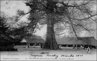 Kouroussa, la place du marché. – « Village guinéen à la tombée du jour. Grandeur, majesté antique de l'Afrique. […] Au centre, un fromager géant unit le ciel à la terre. Un autre arbre abattu, couché, est gros comme un éléphant. Les cases, séparées par des nattes de deux mètres de haut, dessinent des rues pleines de chicanes et de tortis » (1). Kouroussa est le point amont extrême de navigation sur le fleuve Niger. La navigation fluviale sur ce tronçon, mais aussi sur son affluent le Milo qui est navigable jusqu'à Kankan, permit des siècles durant la diffusion des produits de Haute Guinée vers le bassin du Moyen-Niger. A partir de 1913, la ligne  de chemin de fer Conakry-Niger reliant la capitale de la colonie à Kankan en passant par Kouroussa, contribue au désenclavement de la région, mais aussi du Soudan français. En 1924,  l'ouverture du tronçon ferroviaire entre Dakar et Kayes, rejoignant la ligne qui allait du fleuve Sénégal au fleuve Niger, et permettant de joindre Bamako à l'océan sans rupture de charge, devait partiellement disqualifier le rôle sous-régional de Kouroussa et Kankan. Source : Morand, Paul, A.O.F. de Paris à Tombouctou, Paris, Flammarion, 1928.