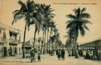 Saint Louis, avenue Dodds - le petit garçon avec un casque colonial est le propre fils de Pierre Tacher, l'éditeur de ces cartes postales  - Alfred Amédée Dodds (Saint-Louis du Sénégal, 6 février 1842 - Paris, 17 juillet 1922) est un général français créole, commandant supérieur des troupes françaises au Sénégal à partir de 1890. En 1892-1894, ce capitaine créole mena la conquête du Dahomey (actuel Bénin) sur Béhanzin 1er. Proche des radicaux français, Alfred Dodds dut sa nomination comme chef d'expédition à l'intervention personnelle de Clemenceau, nomination qui entraîna la démission du ministre de la Marine Godefroy Cavaignac. Sorti de Saint-Cyr en 1862, lieutenant d'infanterie de marine en 1867. En poste à La Réunion, il se distingue durant les émeutes de 1868. Capitaine en dec 1869. Durant la guerre de 70, il se distingue à Bazeilles (chevalier de la Légion d'honneur). Il s'évade après la capitulation de Sedan et rejoint l'armée de la Loire puis celle de l'Est. Il est interné en Suisse à la fin de la guerre. Il sert au Sénégal de 1871 à 1878. Il part ensuite en Cochinchine de 1878 à 1879. Chef de bataillon en 1879, il est en poste au Sénégal et participe aux opérations de la Casamance (1879-1883). Lt Colonel en 1883, il participe aux opérations dans le delta du Tonkin. Colonel en 1887, il pacifie le Fouta Djalon en Guinée. Commandeur de la Légion d'honneur en 1891. Il prend le commandement du 8e colonial à Toulon, puis en 1892, il est nommé commandant supérieur au Bénin et dirige la campagne du Dahomey. Général de brigade en 1892, Inspecteur des troupes de marine. Grand Officier de la Légion d'honneur . En 1895, il reçoit le commandement supérieur des troupes en Indochine. Général de division en 1899. De 1903 à 1907, il est commandant supérieur des troupes de marine. Membre du Conseil supérieur de la guerre. Grand-croix de la Légion d'honneur, Médaille militaire (1907). Décédé en 1922.