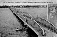 Saint-Louis, perspective du pont Faidherbe, longueur 511 m. – L'ouvrage atteint un poids total de 1300 t.