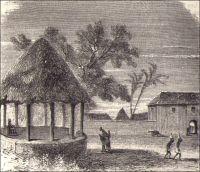 Abomeh, vue extérieure du palais du roi. – « La côte des Esclaves, séparée de la précédente [la côte d'Or] par la Volta, doit son triste nom au commerce d'esclaves que, malgré les lois des nations civilisées, on y fait trop souvent encore, aussi bien que sur la plus grande partie des autres côtes des deux Guinées. Le pays principal de la côte des Esclaves est le royaume de Dahomeh, dont la capitale se nomme Abomeh. Cependant le roi réside ordinairement à Calmina. Les ports les plus fréquentés sont Ouydah (qu'on appelle par corruption Juda), et Porto-Novo, où il y a un établissement français. » - Il est étonnant de constater comme les connaissances sur le Dahomey sont parcellaires, treize ans seulement avant qu'il ne devienne une colonie frainçaise. Sources (image et texte) : Cortambert, E., Cours de Géographie (autorisé par le conseil de l'instruction publique), Paris, Librairie Hachette et Cie, 1879.
