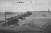 Lomé, le wharf – Le wharf allemand, avec son contournement caractéristique de la partie détruite par une tempête en mai 1911.